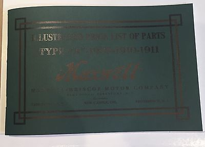 1909-11 Maxwell Illustrated Price & Parts List - Reprint