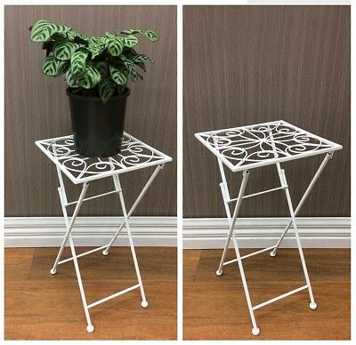 French Country Vintage Inspired Wrought Iron WHITE Side Table Pot Plant Holde...
