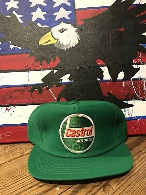 Vintage Castrol Motor Oil Advertising Snapback Patch Mesh Trucker Hat Cap Usa