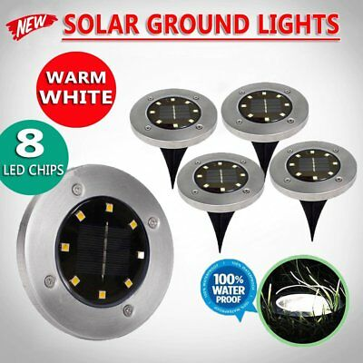 4x Solar Powered 8 LED Buried Inground Light Garden Outdoor Deck Path Warm White