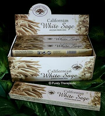 WHITE SAGE PREMIUM MASALA INCENSE STICKS 1 BOX = 12x 15gm PKS~GREEN TREE Wicca