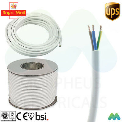 3 core 13 amp round white electrical mains cable wire flex 240v various lengths