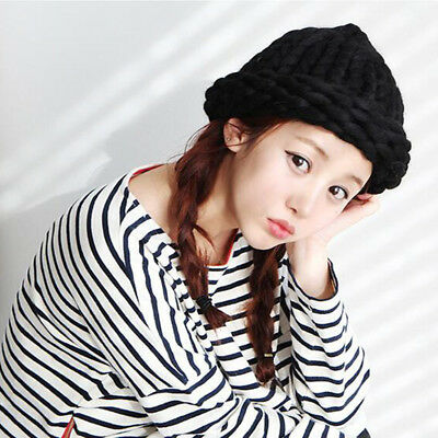 Cotton Acrylic Rushed New Fashion Female Winter Hats Hand Coarse Knitted Hat Pro