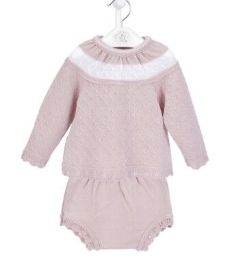 Traditional Spanish Style Baby Girls Dusky Pink Jumper & Jam Pants Outfit Set