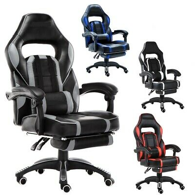 Comfurni Gaming Racing Chair Office Executive Recliner Adjustable Fx Leather
