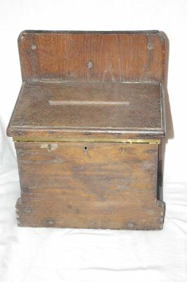 Rare Solid Oak Church Collection Box Georgian 18th Century stock code 3023
