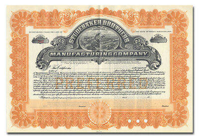 Studebaker Brothers Manufacturing Company Stock Certificate