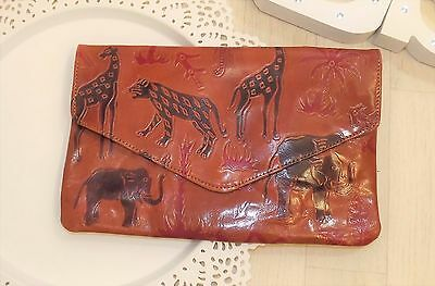 Vtg 70's Elephant Giraffe Palm Tree Leopard Festival Hippy Tooled Leather Clutch