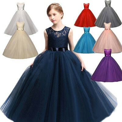 61d809481ee Lace Flower Girls Dress Maxi Long Formal Ball Gown for Kids Wedding  Bridesmaid