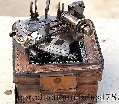 Vintage Marine Antique Brass Sextant With Leather Box Nautical Beautiful Gift