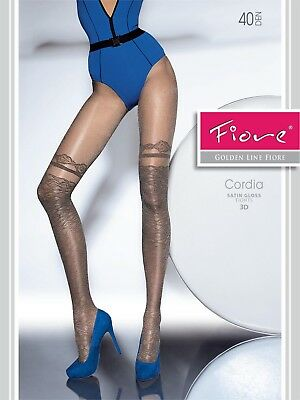 FIORE Cordia Luxury 40 Denier Satin Gloss 3D Patterned Tights - 2 Colours