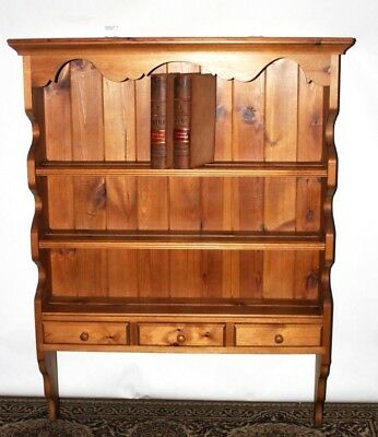 Vintage Pine Wall Hanging 3 tier Shelving Display Unit Bookcase  [PL4386]