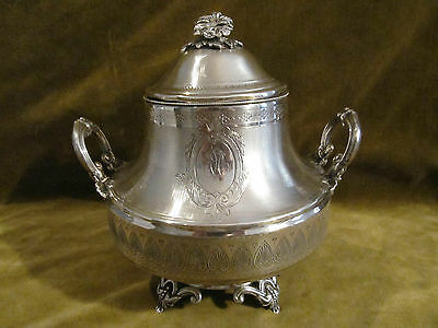 Gorgeous 19th c french sterling guilloche silver sugar bowl Empire st Juge