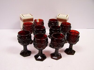 Lot of 12 Vintage Avon 1876 Cape Cod Ruby Red Small Wine Goblets  **Free S&H**