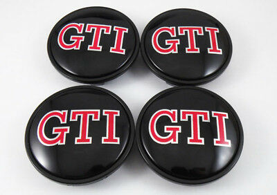 4 x GTI for POLO GOLF PASSAT CC SCIROCCO 65mm Wheel Center Caps Hub Cover emblem
