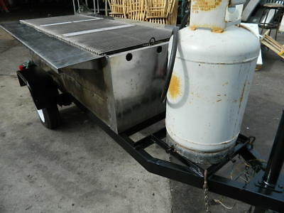"Tow Behind Trailer 72"" Radiant Charbroiler Propane Concessions Bbq Smoker"