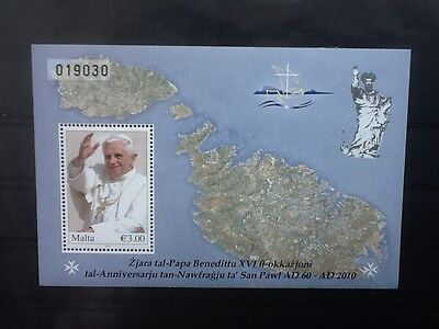 Malta 2010  S/S Visit of Pope Benedict to Malta  Mint N/H Scott No 1409 V/F L109