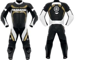 1 piece Yamaha racing Motorcycle Leather Suit black/white/gold