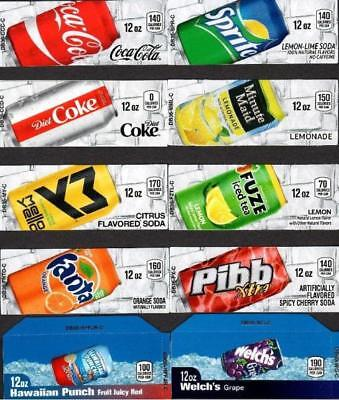 10 Coke Mixed Label Set Of 12 oz Can Small Flavor Labels - Soda Vending Machines