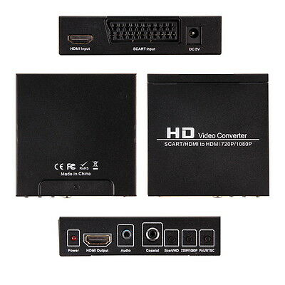 Scart HDMI to HDMI 720P 1080P HD Video Converter Adapter Box For HDTV DVD XBAS