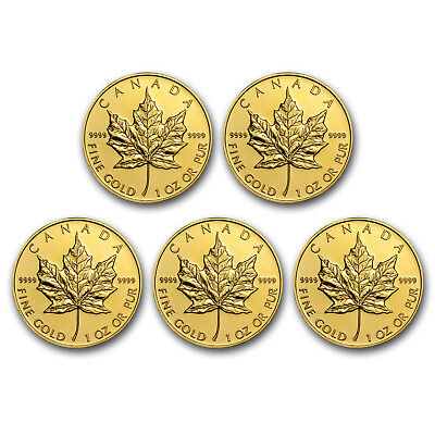 Bank Wire Payment. 1 oz Gold Maple Leaf Random Year Lot of 5