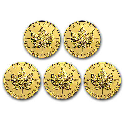 SPECIAL PRICE! BANK WIRE. Canada 1 oz Gold Maple Leaf.9999 Fine(Random)Lot of 5