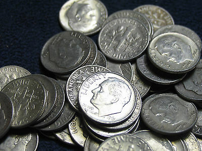 Assorted 1964 & pre-1964 Roosevelt Dimes-One (1) roll- 50 coins/$5-circ