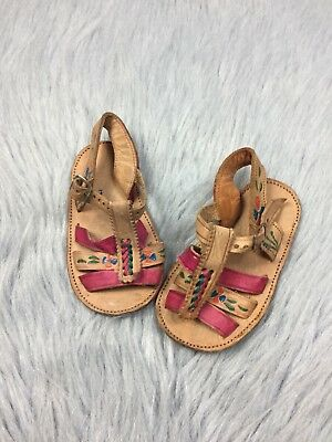 Vtg Baby Unisex Handmade Painted Tan Pink Mexican Sandals