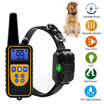 IP68 Pet Dog Training Collar Rechargeable Electric Shock LCD Anti-bark R 800M UK