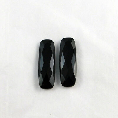 Faceted Black Onyx Long Cushion Briolette 10X30 Mm Cabochon Gemstones -2 Pcs
