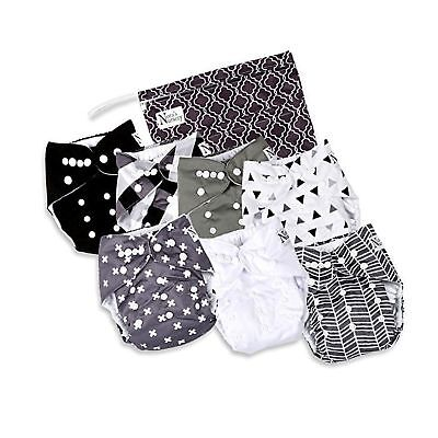 Unisex Baby Cloth Pocket Diapers 7 Pack, 7 Bamboo Inserts, 1 Wet Bag by Nora'...