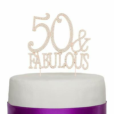 50 & Fabulous Cake Topper for 50th Birthday Party (Rose Gold)