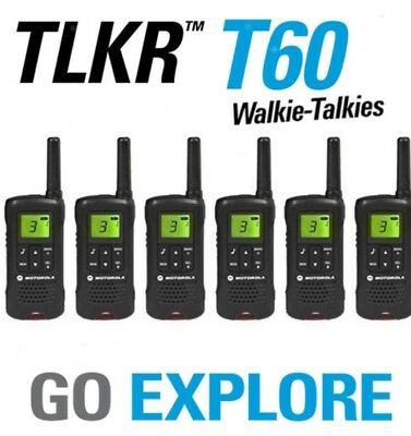 R - 6x Motorola Talker TLKR T60 2 Way Walkie Talkie PMR 446 Radio 6 Pack