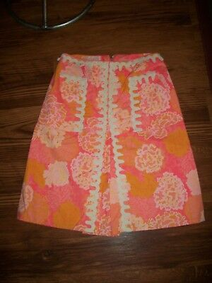 Vintage 1960's 1970's The Lilly Lilly Pulitzer A Line Bright Skirt Lace M 8
