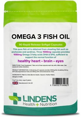 Omega 3 Fish Oil 1000mg 90 Capsules DHA EPA Fatty Acids High Strength Lindens UK