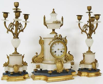 Stunning Antique French White Marble & Ormolu 8 Day Mantel Candelabra Clock Set