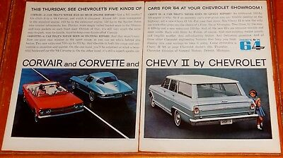 1964 Chevy Ii Wagon Corvair Monza Convertible & Corvette Large Ad - Vintage 60S