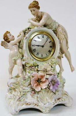 Antique French Hard Paste Paris Porcelain Mother & Child 8 Day Mantel clock 1870