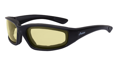 Indian Motorcycle Icon Sunglasses Yellow Lens Matte Black Frame 100% Uva+Uvb Atf