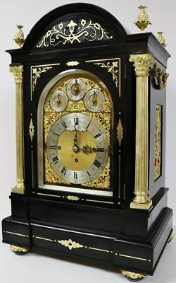 Antique Ebonised & Ormolu Inlay 8 Bell Westminster Musical Chiming Bracket Clock