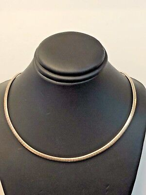 Sterling Silver 925 ITALY Omega Choker Necklace 16