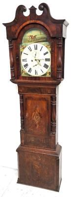 Fine Antique English Cross banded Oak Swan Neck Grandfather Longcase Clock C1800