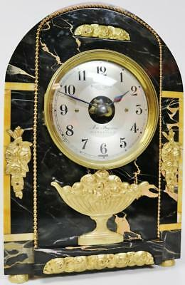 Early Antique French 8 Day Bulle Black Sienna Marble & Ormolu Mantle Clock C1900