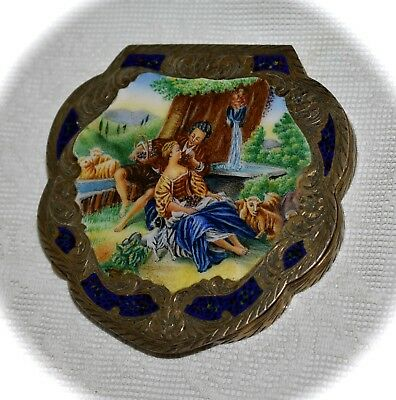 Gorgeous ITALIAN Vintage 800 SILVER & Enamel ~COMPACT~ Courting Couple & Animals