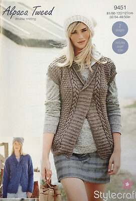 476474874 Stylecraft 9451 Knitting Pattern- Sweater and Slipover in Alpaca Tweed DK