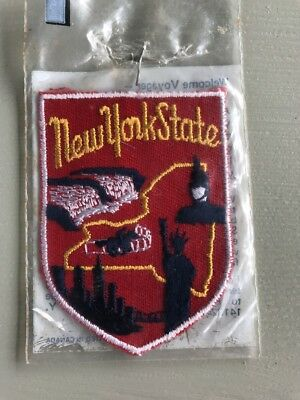 Vintage New York State Souvenir Patch by Voyager Emblems Niagara Falls City Red