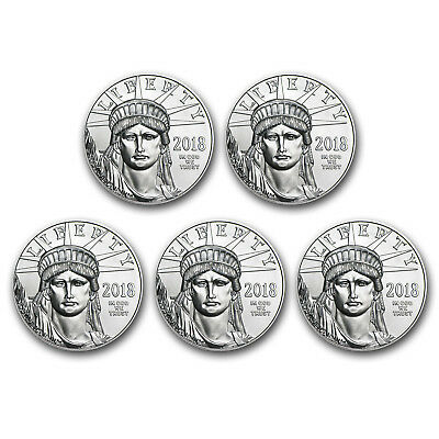 Bank Wire Payment. 2018 1 oz Platinum American Eagle BU - Lot of 5