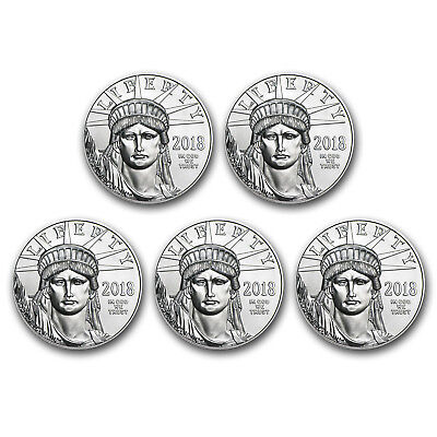 SPECIAL PRICE! BANK WIRE. 2018 1 oz Platinum American Eagle BU - Lot of 5