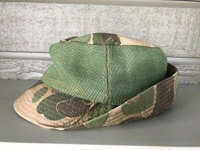 Woodland Camouflage Vintage 70s Mens Jones Style Hunting Hat Green Mesh 2307a3898ca