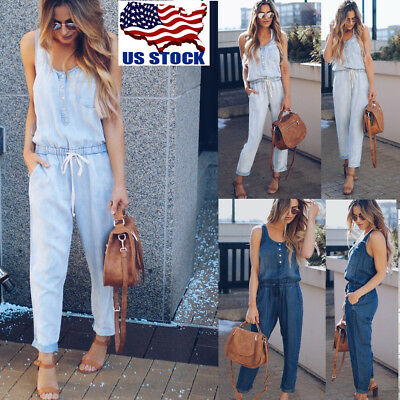 Women Casual Loose Denim Jeans Pants Overalls Straps Jumpsuit Romper Trousers US